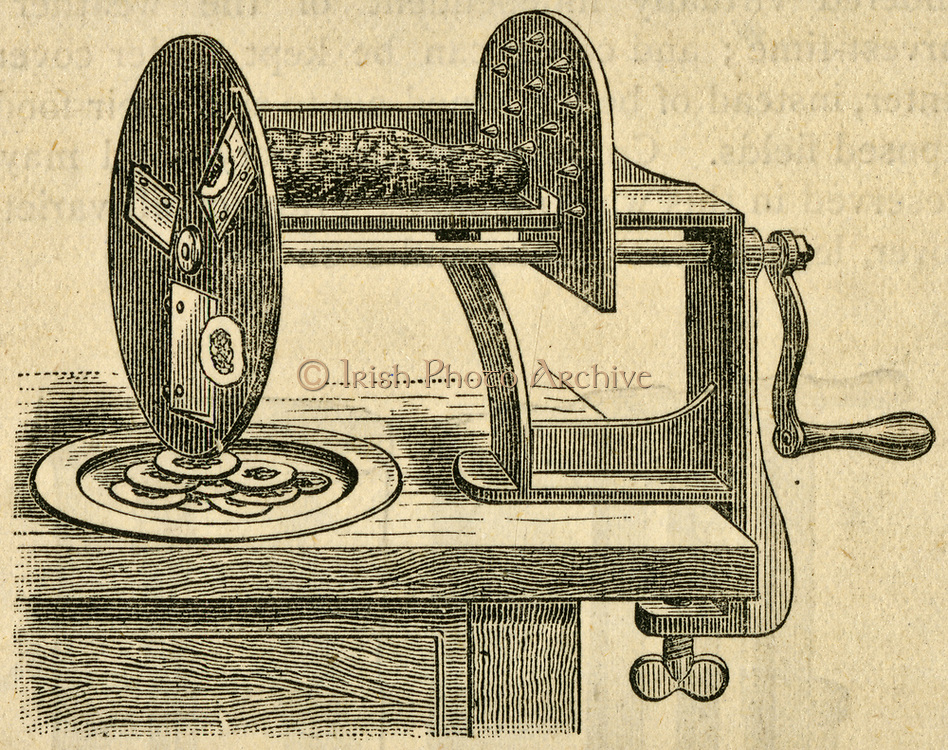 Vegetable slicer. Engraving, 1884