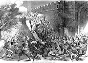 Indian (Sepoy) Mutiny, also known as the Sepoy Mutininy or the Great War of Independence: Siege of Delhi; Colonel Campbell's troops storming the Cashmere Gate after engineers had blown it up. From 'Illustrated London News' 1857. Wood engraving.