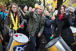 © Licensed to London News Pictures . 12/11/2016 . Manchester , UK . BEZ ( Mark Berry ) . Approximately 2000 people march and rally against Fracking in Manchester City Centre . Photo credit : Joel Goodman/LNP