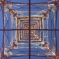 Television transmitter tower, view from below. Semi-abstract treatment. Vertical/horizontal arrangement.