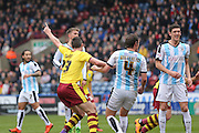 Burnley defender Stephen Ward (23) scores a goal and celebrates to make the score 0-1 during the Sky Bet Championship match between Huddersfield Town and Burnley at the John Smiths Stadium, Huddersfield, England on 12 March 2016. Photo by Simon Davies.