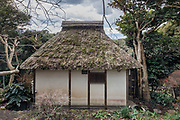 Oiso, Kanagawa prefecture, Japan, February 10 2017 - Keiji and Atsuko Suzuki's minka, traditional wooden house, is the last minka home in Oiso. The previous owner of the 3,000 sq. ft. house moved it from the shores of Lake Biwa, near Kyoto, 35 years ago.<br /> Detached house in the garden.