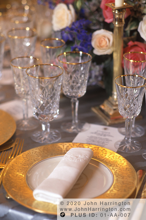 A PLACE SETTING  PREPARED FOR THE STATE DINNER.