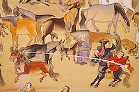 Mongolie, Oulan-Bator, Musée des beaux Arts, peinture intitulé Un Jour de Mongolie // Mongolia, Ulan-Bator, Museum of Fines Arts, painting named One day Of Mongolia