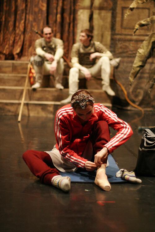 La Bayadere,. .Nikiya: Svetlana Zakharova  gets ready before performance ..Solor: Nikolai Tsiskaridze .Gamzatti: Galina Stepanenko
