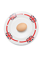 Brown egg in plate against white background