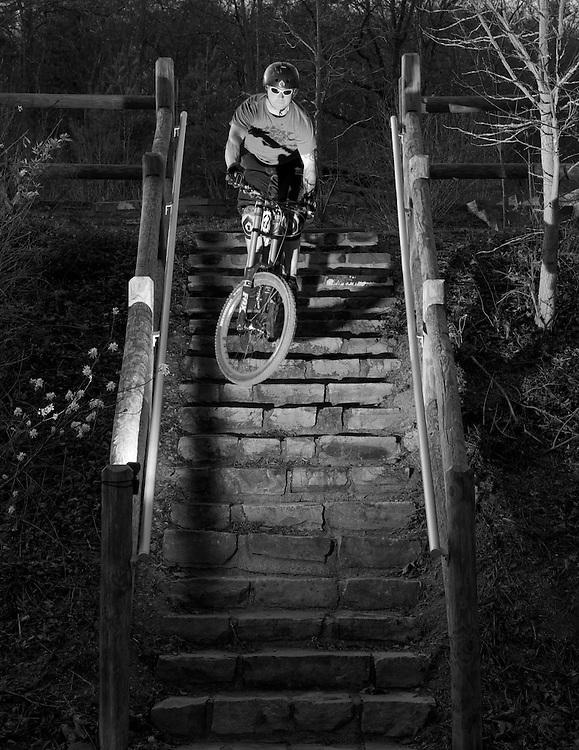 Eric Lange dropping a stair gap.