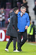 Heart of Midlothian manager Craig Levein celebrates following the William Hill Scottish Cup 4th round match between Heart of Midlothian and Hibernian at Tynecastle Stadium, Gorgie, Scotland on 21 January 2018. Photo by Craig Doyle.