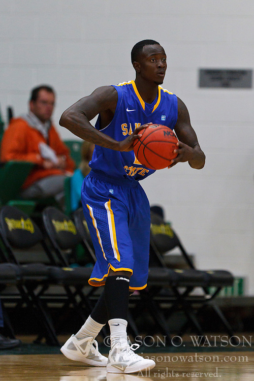 Nov 16, 2011; San Francisco CA, USA;  San Jose State Spartans forward Jaleel Williams (2) passes the ball against the San Francisco Dons during the first half at War Memorial Gym.  San Francisco defeated San Jose State 83-81 in overtime. Mandatory Credit: Jason O. Watson-US PRESSWIRE