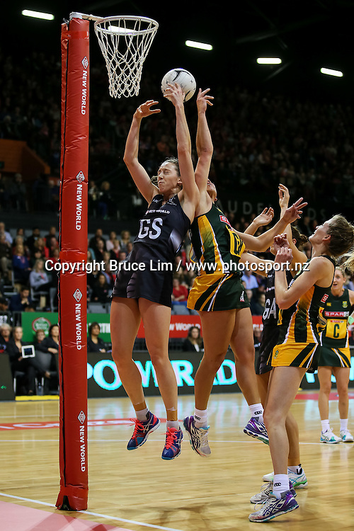 Silver Fern's Bailey Mes and Spar Protea's Adele Niemand compete for the ball during the international Netball match - Silver Ferns v South Africa at Claudelands Arena, Hamilton on Sunday 26 July 2015.  Copyright Photo:  Bruce Lim / www.photosport.nz