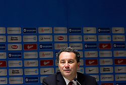 Slavisa Stojanovic, head coach of Slovenia during press conference after the football match between National teams of Slovenia and Cyprus in 3rd Round of Group E of FIFA World Cup 2014 Qualification on October 12, 2012 in Stadium Ljudski vrt, Maribor, Slovenia. Slovenia defeated Cyprus 2-1. (Photo By Vid Ponikvar / Sportida)