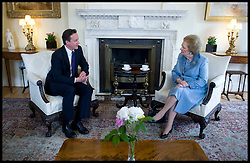 British Prime Minister David Cameron talks to former Prime Minister Baroness Thatcher inside Number 10 Downing Street, , Tuesday June 8, 2010.  Photo By Andrew Parsons/i-Images<br /> <br /> File photo - One year ago: Baroness Thatcher died.<br /> On Tue, Apr 8 2014 it will be one year since the Longest-serving UK Prime Minister of the 20th century, the first and only woman to serve in the role to date, died on April 8, 2013  after suffering a stroke.
