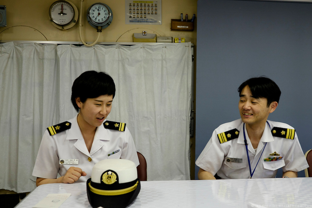Mayu Kanzaki (left), the first female gunnery officer of Japan's MSDF, together with an other officer inside the Yamagiri ship. <br /> Miho Ootani, the first woman destroyer captain of Japan's Marine Self Defence Forces (MSDF), on board the Yamagiri in Yokosuka army base near Tokyo.