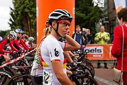 Trixi Worrack of Velocio - Sram waiting for the start at the Holland Ladies Tour, Zeddam, Gelderland, The Netherlands, 1 September 2015.<br /> Photo: Pim Nijland / PelotonPhotos.com