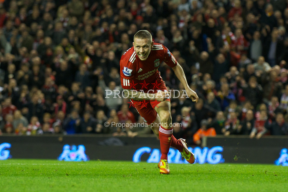 LIVERPOOL, ENGLAND - Wednesday, January 25, 2012: Liverpool's Craig Bellamy celebrates scoring the second goal against Manchester City during the Football League Cup Semi-Final 2nd Leg at Anfield. (Pic by David Rawcliffe/Propaganda)