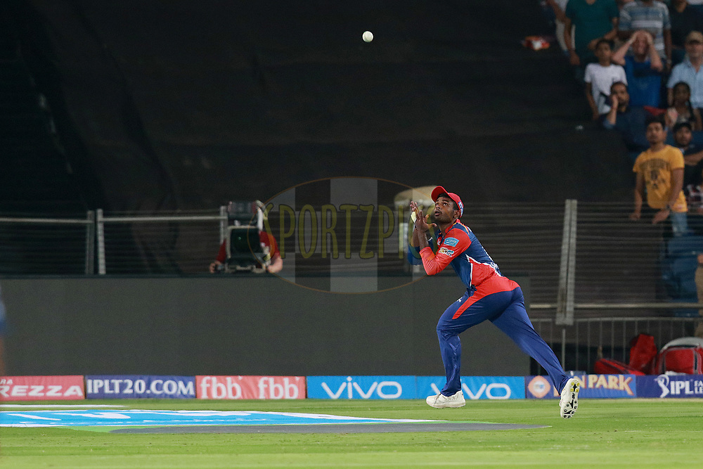 Sanju Samson of DD takes a catch of Ajinkya Rahane of RPS during match 9 of the Vivo 2017 Indian Premier League between the Rising Pune Supergiants and the Delhi Daredevils held at the MCA Pune International Cricket Stadium in Pune, India on the 11th April 2017<br /> <br /> Photo by Rahul Gulati- IPL - Sportzpics