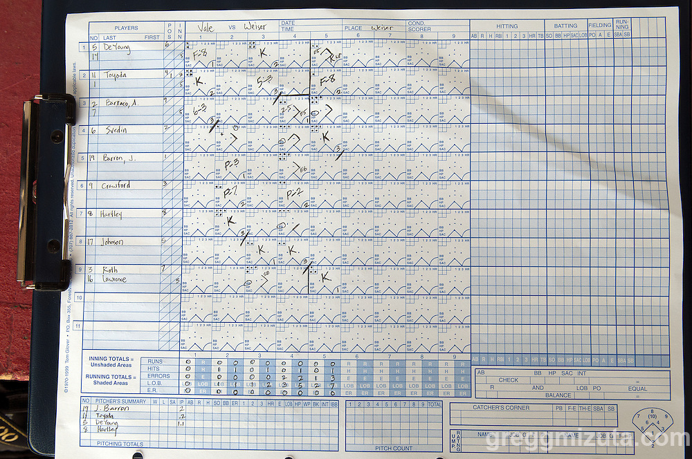 Weiser scorecard for the Vale-Weiser baseball game on April 7, 2012 at Walter Johnson Memorial Field in Weiser, Idaho. Vale won the game 12-0 in five innings.