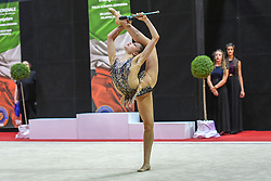 July 28, 2018 - Chieti, Abruzzo, Italy - Rhythmic gymnast Milena Baldassarri of Italy performs her clubs routine during the Rhythmic Gymnastics pre World Championship Italy-Ukraine-Germany at Palatricalle on 29th of July 2018 in Chieti Italy. (Credit Image: © Franco Romano/NurPhoto via ZUMA Press)