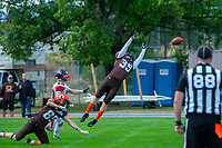 KELOWNA, CANADA - SEPTEMBER 16: Wide receiver Cole Stroud #39 of the Okanagan Sun misses a pass against the Vancouver Island Raiders on September 16, 2018, at the Apple Bowl, in Kelowna, British Columbia, Canada.  (Photo by Marissa Baecker/Shoot the Breeze)  *** Local Caption ***