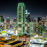 Downtown Dallas skyline as seen from the world-famous Dallas landmark, Reunion Tower