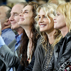 January 23, 2012; New Orleans, LA, USA; Actresses, Brooke Shields, Daryl Hannah and Melanie Griffith watch from courtside during the second quarter of a game between the New Orleans Hornets and the San Antonio Spurs at the New Orleans Arena.   Mandatory Credit: Derick E. Hingle-US PRESSWIRE