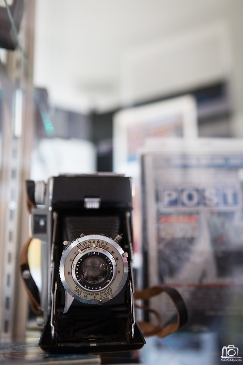 Photography memorabilia like this old Kodak camera is on display at the Milpitas Community Center's Phantom Art Gallery while the Milpitas Camera Club hosts their 10th Anniversary Print Show on July 23, 2012.  Photo by Stan Olszewski/SOSKIphoto.com.