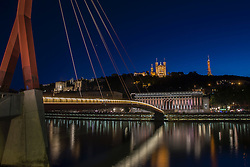 LYON, FRANCE - Tuesday, July 5, 2016: A general night-time view of Lyon across the river Saone ahead of the UEFA Euro 2016 Championship Semi-Final match Wales against Portugal at the Stade de Lyon. (Pic by Paul Greenwood/Propaganda)