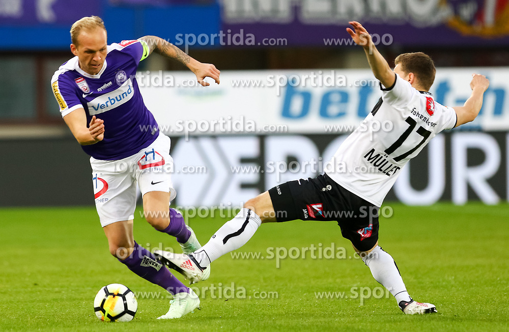 31.03.2018, Generali Arena, Wien, AUT, 1. FBL, FK Austria Wien vs Cashpoint SCR Altach, 28. Runde, im Bild v.l. Raphael Holzhauser (FK Austria Wien), Valentino Mueller (Cashpoint SCR Altach) // during the Austrian Football Bundesliga 28th Round match between FK Austria Wien and Cashpoint SCR Altach at the Generali Arena in Wien, Austria on 2018/03/31. EXPA Pictures © 2018, PhotoCredit: EXPA/ Alexander Forst