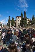 Palm Sunday, tradional Easter celebrations in Placa d'Octavia, beside the Monestir or Monastery of Sant Cugat del Valles, on the outskirts of Barcelona, Catalonia, Spain. Diumenge de Rams, dial de rams, Sant Cugat, Catalunya, Espanya. Domingo de Ramos, Espana.