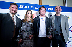 Vladimir Kevo, Marija Sestak, Primoz Kozmus and Matija Sestak Best Slovenian athletes and coaches of the year at ceremony, on November 15, 2008 in Hotel Lev, Ljubljana, Slovenia. (Photo by Vid Ponikvar / Sportida)