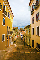 street of the historic center of the city of sao luis of maranhao in brazil