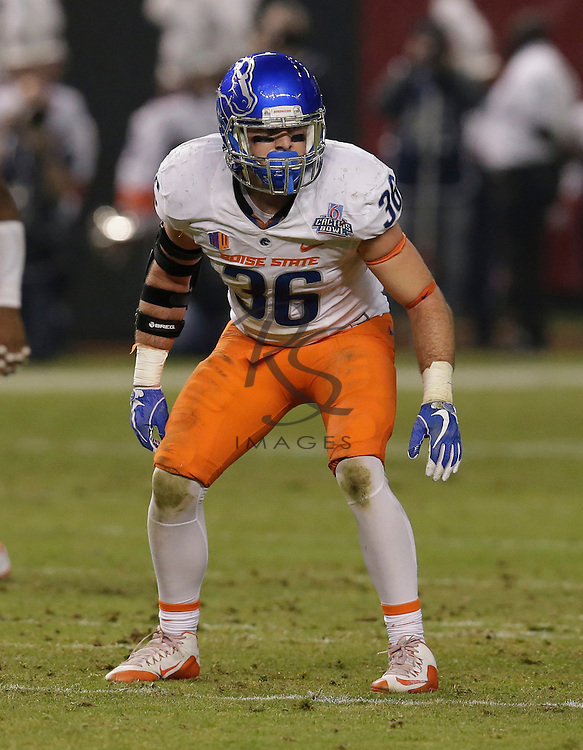 Boise State linebacker Blake Whitlock (36) during the Cactus Bowl NCAA college football game against Baylor, Tuesday, Dec. 27, 2016, in Phoenix. (AP Photo/Rick Scuteri)
