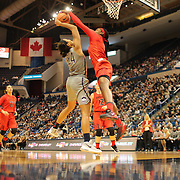 HARTFORD, CONNECTICUT- NOVEMBER 19: Napheesa Collier #24 of the Connecticut Huskies has her shot blocked by Kaila Charles #5 of the Maryland Terrapins during the the UConn Huskies Vs Maryland Terrapins, NCAA Women's Basketball game at the XL Center, Hartford, Connecticut. November 19th, 2017 (Photo by Tim Clayton/Corbis via Getty Images)