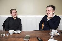19 MAR 2018, BERLIN/GERMANY:<br /> Kevin Kuehnert (L), SPD, Bundesvorsitzender der Jusos, und Paul Ziemiak (R), MdB, CDU, Bundesvorsitzender der Jungen Union, waehrend einem gemeinsamen Interview, Restaurant Habel am Reichstag<br /> IMAGE: 20180319-01-018<br /> KEYWORDS: Kevin K&uuml;hnert