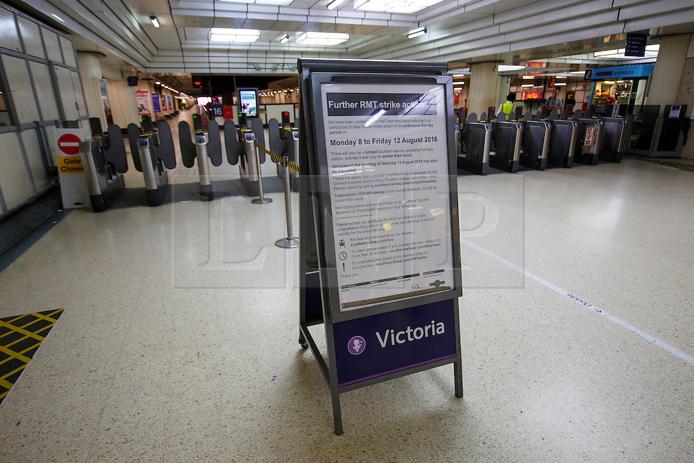© Licensed to London News Pictures. 08/08/2016. London, UK. A notice board left at Victoria Station in London, as hundreds of thousands of rail passengers face a week of travel chaos because of a five-day strike in an escalating dispute over the role of conductors between Southern Rail and the RMT Union. Photo credit: Tolga Akmen/LNP