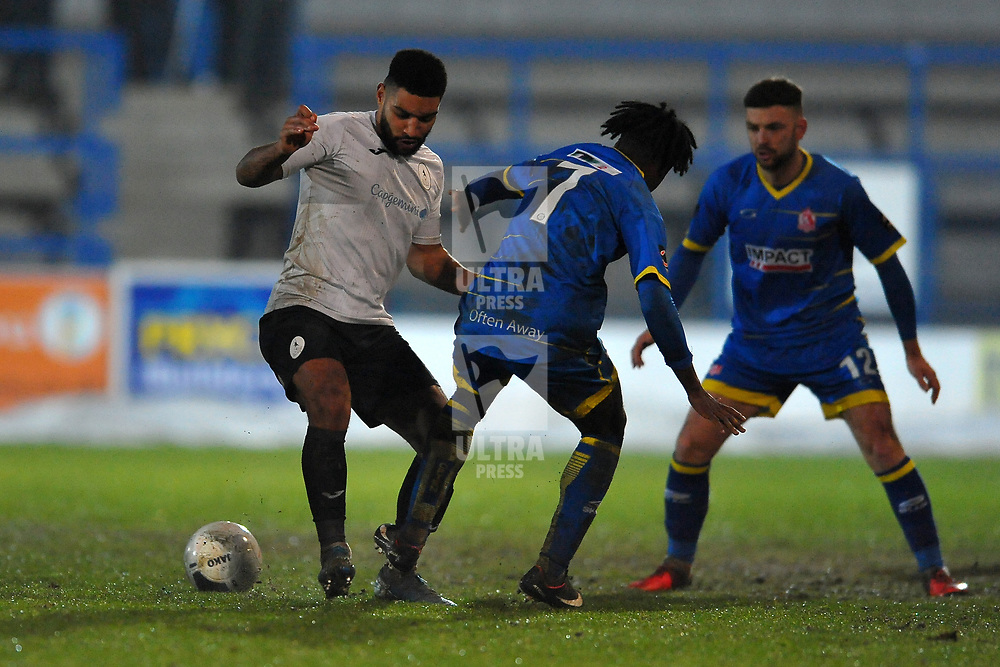 TELFORD COPYRIGHT MIKE SHERIDAN Ellis Deeney of Telford battles for the ball during the Vanarama Conference North fixture between AFC Telford United and Alfreton Town at the New Bucks Head Stadium on Thursday, December 26, 2019.<br /> <br /> Picture credit: Mike Sheridan/Ultrapress<br /> <br /> MS201920-036