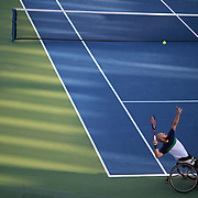 2017 U.S. Open Tennis Tournament - DAY ELEVEN. Stefan Olsson of Sweden in action with team mate Joachim Gerard of Belgium in the Wheelchair Men's Doubles Semifinal against Stephane Houdet of France and Nicolas Peifer of France at the US Open Tennis Tournament at the USTA Billie Jean King National Tennis Center on September 07, 2017 in Flushing, Queens, New York City.  (Photo by Tim Clayton/Corbis via Getty Images)