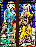 A stained glass image depicting the Holy Family, from St. Anthony Church in Menomonee Falls, Wis. (Photo by Sam Lucero)