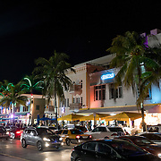 MIAMI BEACH, FLORIDA, NOVEMBER 4, 2016<br /> Pedestrian and vehicular traffic crawl along in both directions in Miami Beach's popular Ocean Drive on a Friday night. Recent incidents of violence and crime are pushing the city of Miami Beach to try to alter the appeal of the area.<br /> (Photo by Angel Valentin/Freelance)