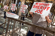 Apr. 20, 2009 -- PHOENIX, AZ: Supporters of Maricopa County Sheriff Joe Arpaio picket a US Senate Committee meeting in Phoenix Monday. The US Senate Committee on Homeland Security and Government Affairs, chaired by Sen. Joe Lieberman (Ind-CT), held a hearing about local perspectives on border violence in the Phoenix City Council chambers in Phoenix, AZ, Monday. Arpaio was invited to testify to the committee but skipped the meeting to make an appearance on Comedy Central.   Photo by Jack Kurtz