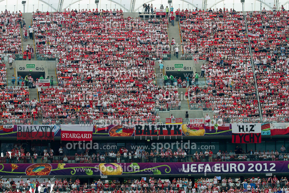 Supporters of Poland prior to the UEFA EURO 2012 group A match between Poland and Greece at The National Stadium on June 8, 2012 in Warsaw, Poland.  (Photo by Vid Ponikvar / Sportida.com)