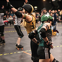"Manchester Roller Derby's ""Checkerbroads"" take on Newcastle Roller Girls' ""Canny Belters"" in the UKRDA Northern Tier 2 British Championships at Manchester Academy, 2015-02-01"