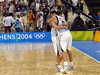 29/08/04 - ATHENS  - GREECE -  - BASKETBALL SEMIFINAL MATCH   - Indoor Olympic Stadium - <br />ARGENTINA win over ITALY and win the GOLD MEDAL<br />Argentine celebration after win the match.<br />Here EMANUEL GINOBILI with PEPE SANCHEZ after finish the match.<br />© Gabriel Piko / Argenpress.com / Piko-Press