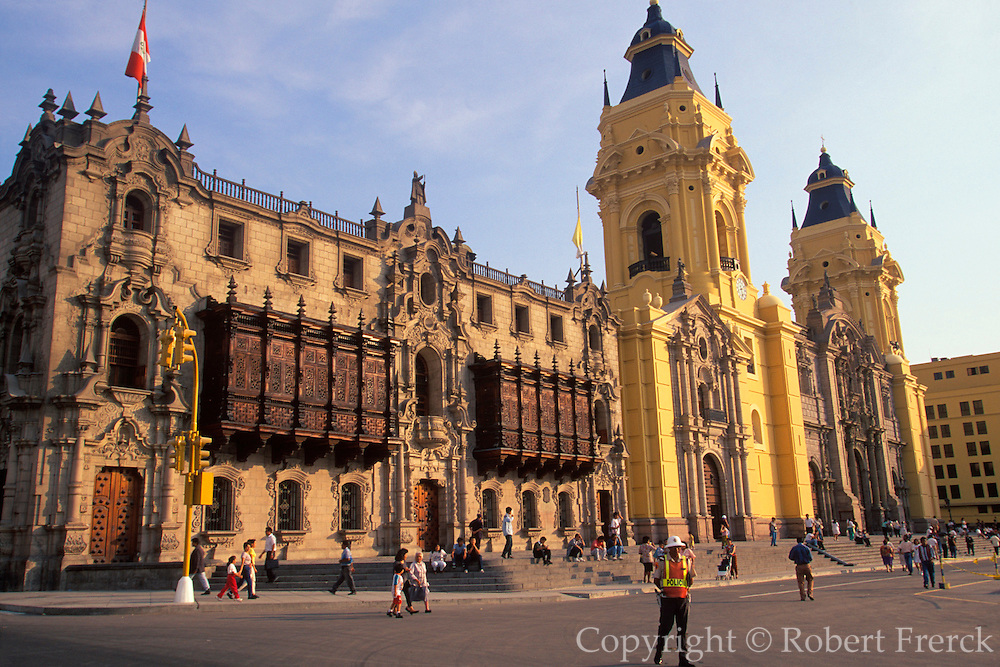 PERU, LIMA, COLONIAL ARCHITECTURE the Archbishop's Palace with beautiful carved wooden balconies next to the Cathedral on the Plaza de Armas