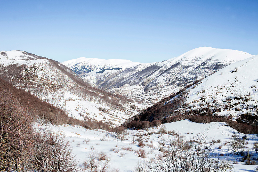 16 February 2017, Scanno - Valley of Sagittarius, mountains of the National Park of Abruzzo covered by snow.