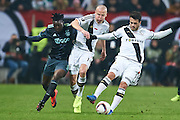 Warsaw, Poland - 2017 February 16: (L) Davinson Sanchez of Ajax Amsterdam fights for the ball with (C) Adam Hlousek and (R) Valeri Kazaishvili both of Legia Warsaw during soccer match Legia Warszawa v Ajax Amsterdam - UEFA Europe League  at Municipal Stadium on February 16, 2017 in Warsaw, Poland.<br /> <br /> Mandatory credit:<br /> Photo by &copy; Adam Nurkiewicz / Mediasport<br /> <br /> Adam Nurkiewicz declares that he has no rights to the image of people at the photographs of his authorship.<br /> <br /> Picture also available in RAW (NEF) or TIFF format on special request.<br /> <br /> Any editorial, commercial or promotional use requires written permission from the author of image.