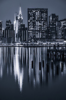 Chrysler Building, United Nations Headquarters & East River (monochrome)