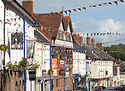Frontages of historic buildings in town centre of Abergavenny, Monmouthshire, South Wales, UK