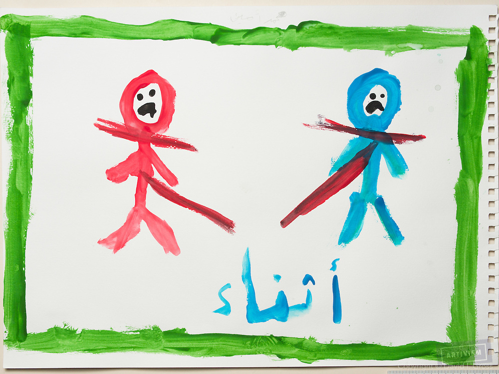 During the war: people are being killed. Drawing by a 10 year old Syrian boy. (Topic for session: draw your impression of life before, during and after the war.)