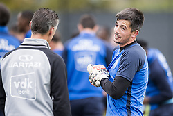 October 11, 2017 - Gent, BELGIUM - Gent's keeper coach Francky Vandendriessche and Gent's goalkeeper Yannick Thoelen pictured during a training session of Belgian first division soccer team KAA Gent, Wednesday 11 October 2017 in Gent. It's their first session with new head coach Vanderhaeghe. BELGA PHOTO JASPER JACOBS (Credit Image: © Jasper Jacobs/Belga via ZUMA Press)